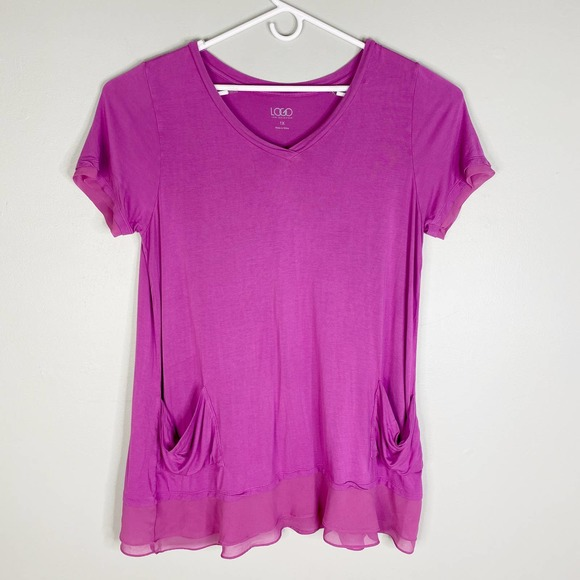 LOGO Lori Goldstein Top Tunic 1X Purple SS